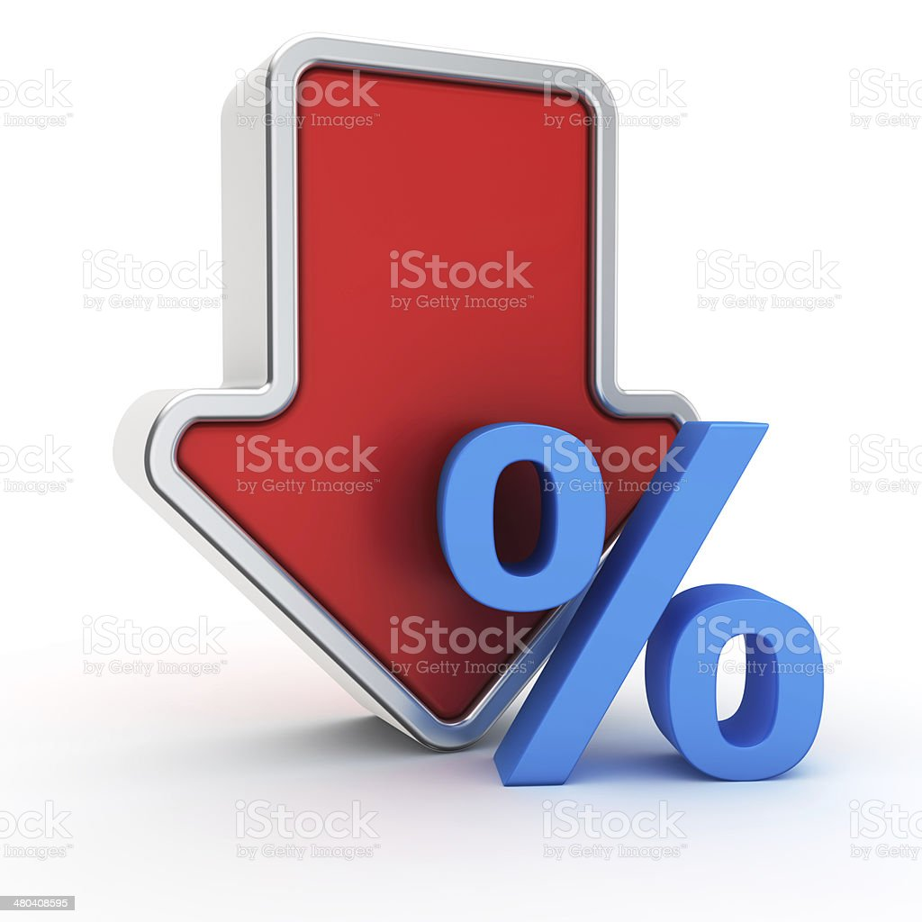 Fall of percent rate stock photo