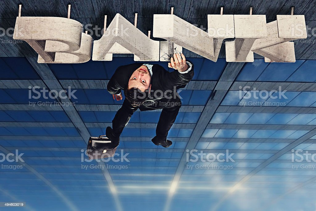 Fall of the bankrupt stock photo