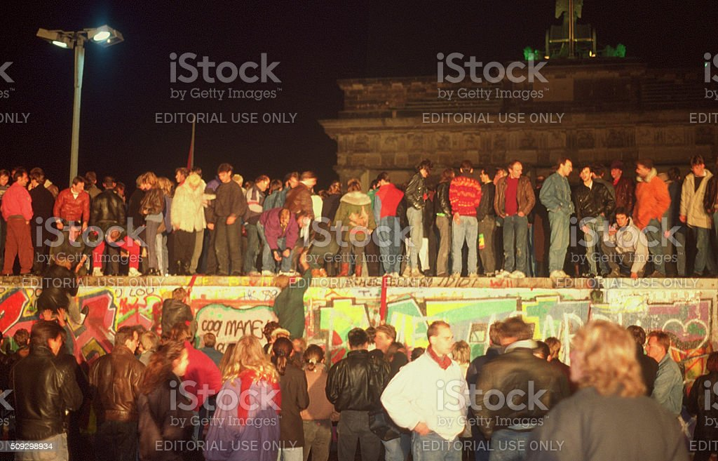Fall of the Berliner wall 1989 stock photo