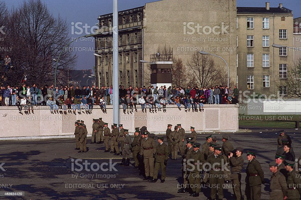 Fall of the Berliner wall in 1989 stock photo