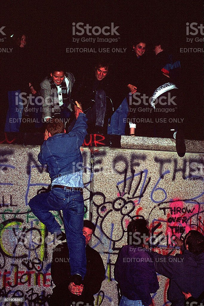 Fall of the Berliner wall November 1989 stock photo