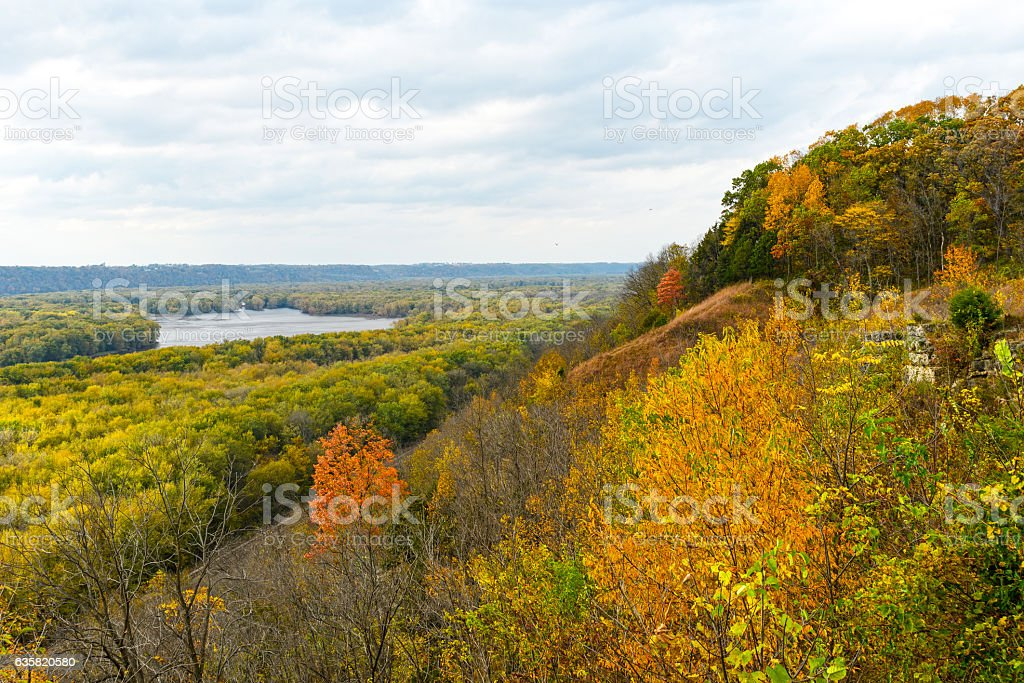 Fall on the MIssissippi stock photo