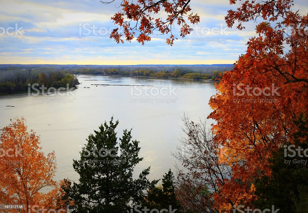 Fall on the River stock photo