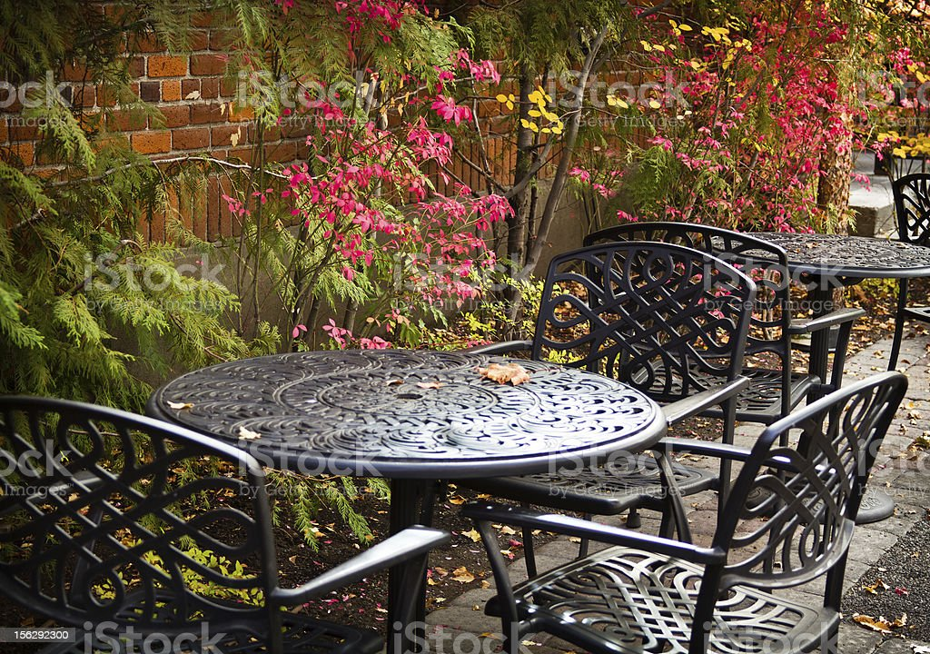Fall Outdoor Patio Table and Chairs royalty-free stock photo