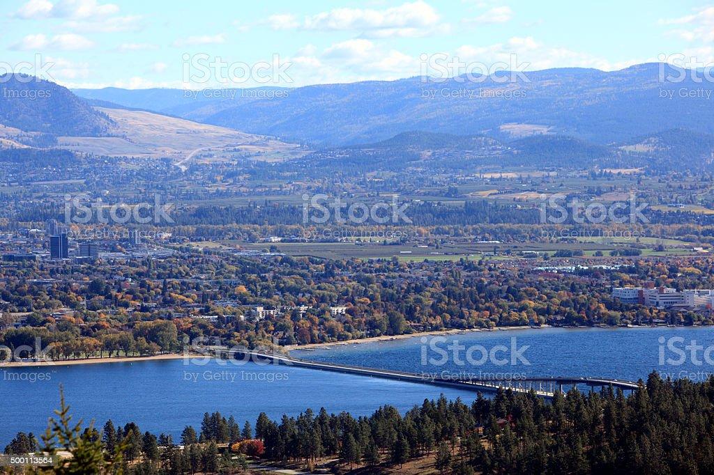 Fall Overview Of Kelowna Countryside,Bridge And Lake Okanagan stock photo
