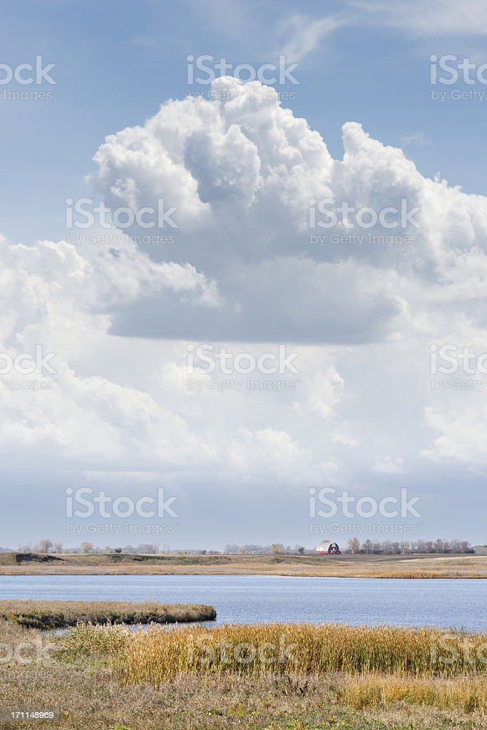 fall prairie landscape with distant barn royalty-free stock photo
