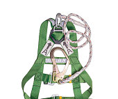 fall protection harness and lanyard for work at heights.