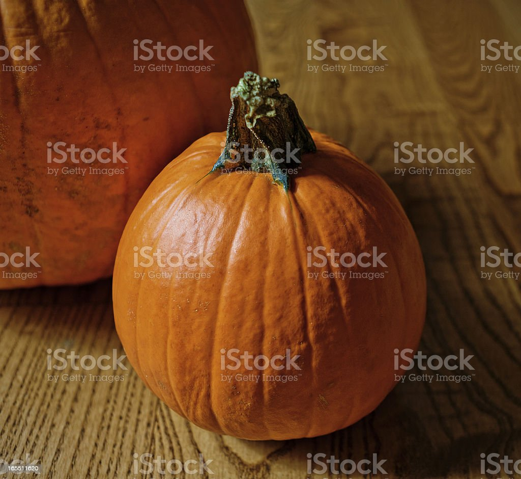 Fall Pumpkin Background on Wood royalty-free stock photo