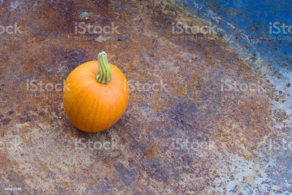 Fall Pumpkin in Rusty Wheelbarrow stock photo
