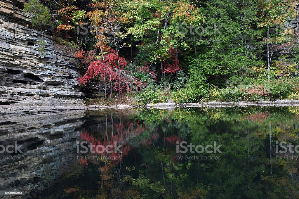 Fall Reflections in still water stock photo