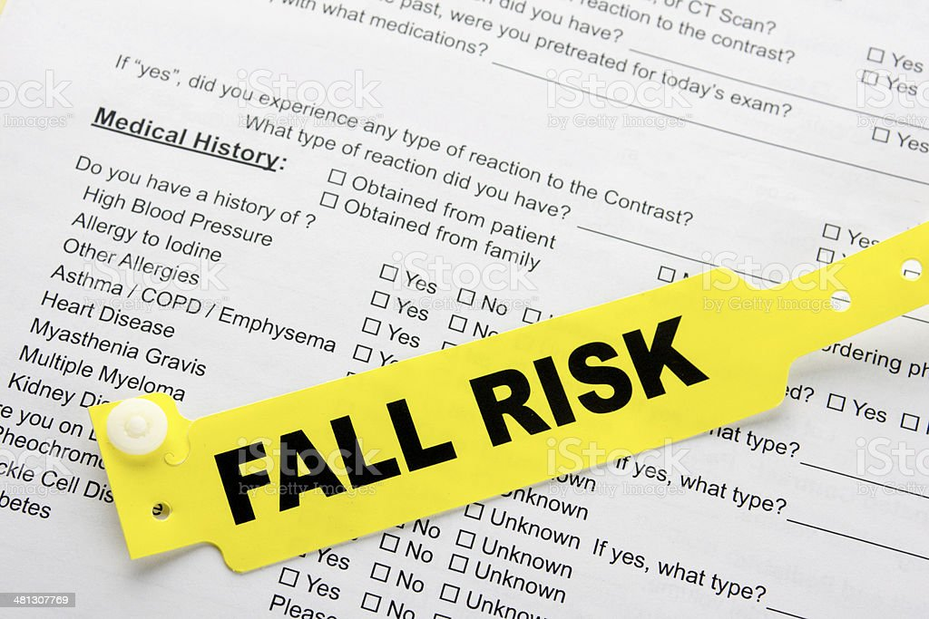 Fall Risk With Hospital  Paperwork stock photo