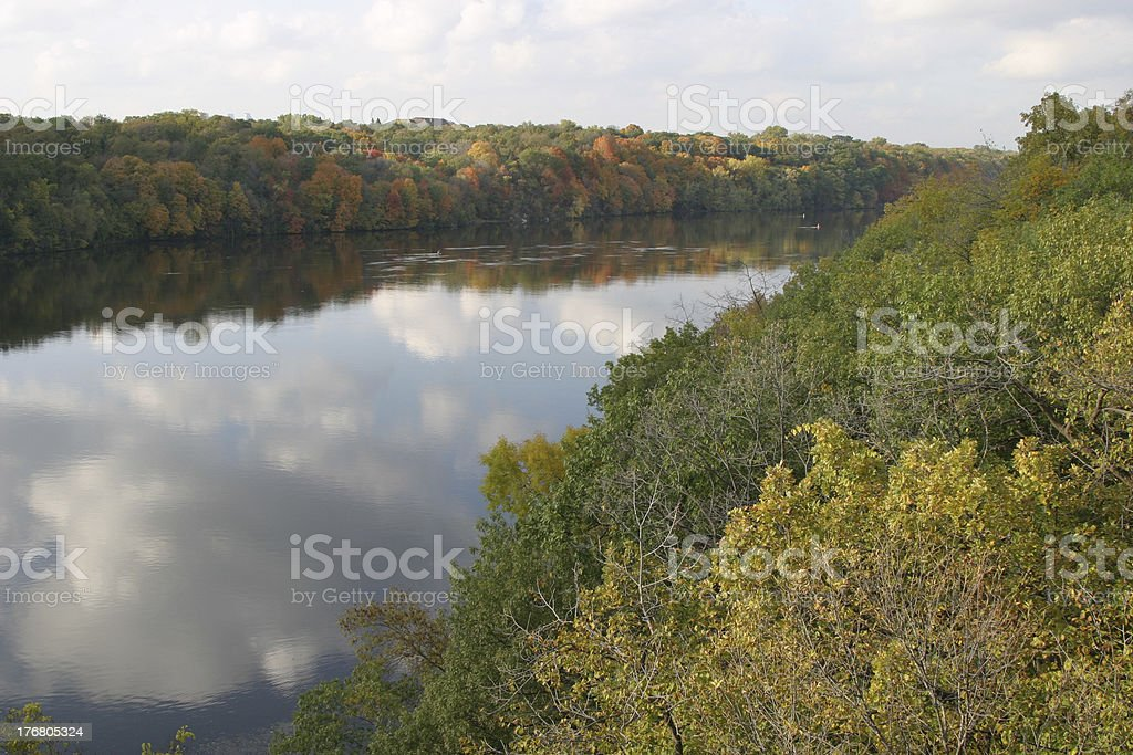 Fall river reflections stock photo