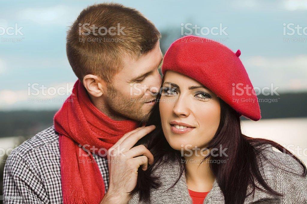 Fall Romance, Loving Couple Portrait royalty-free stock photo