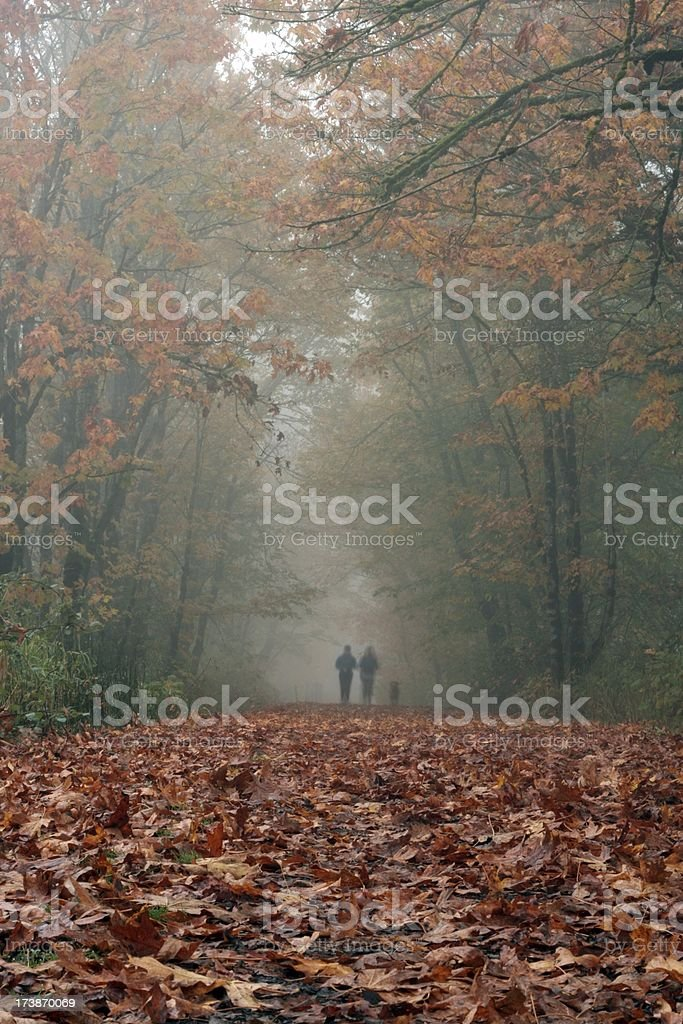Fall Runners with Dog royalty-free stock photo