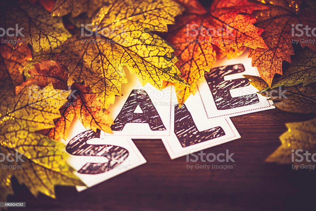 Fall Sale. Fall leaves with SALE message stock photo