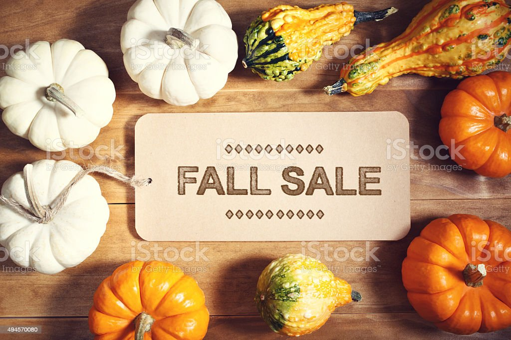 Fall Sale message with colorful pumpkins stock photo