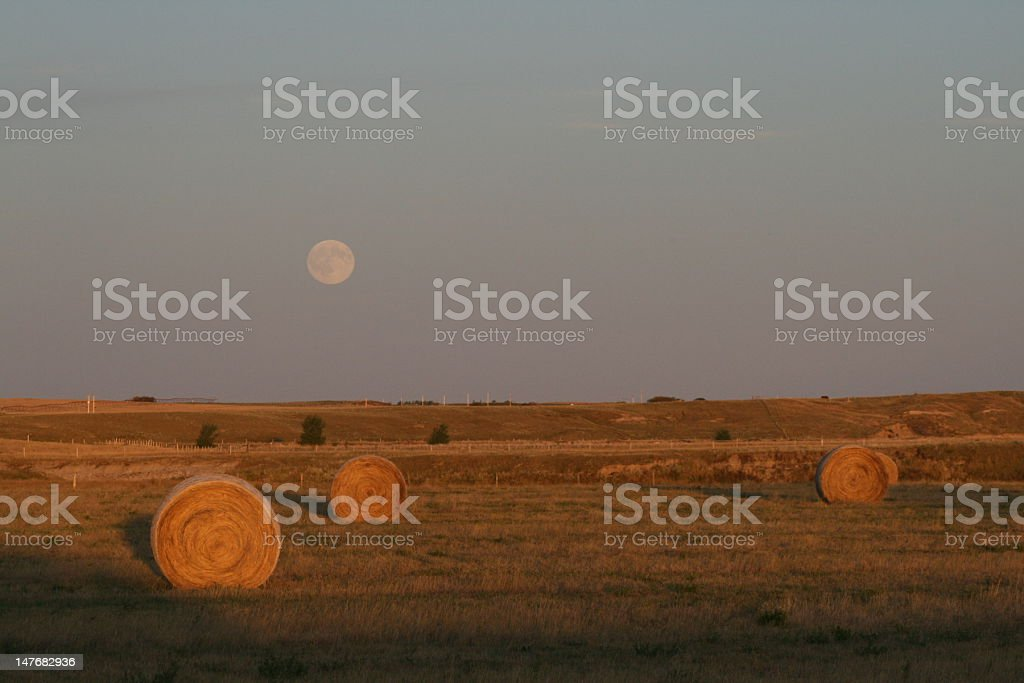 Fall Scene of bales and full moon stock photo