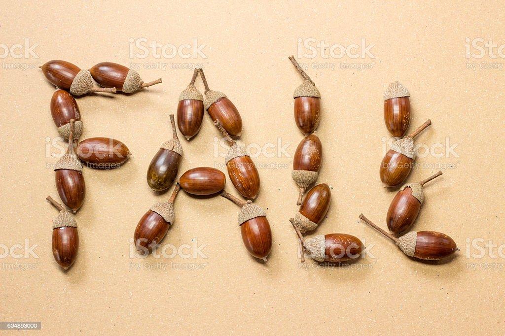 Fall spelled in acones stock photo