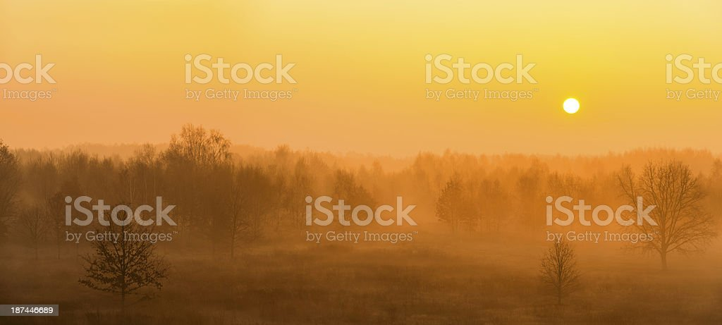 Fall Sunrise and Fog Over the Field - 53 Mpx royalty-free stock photo