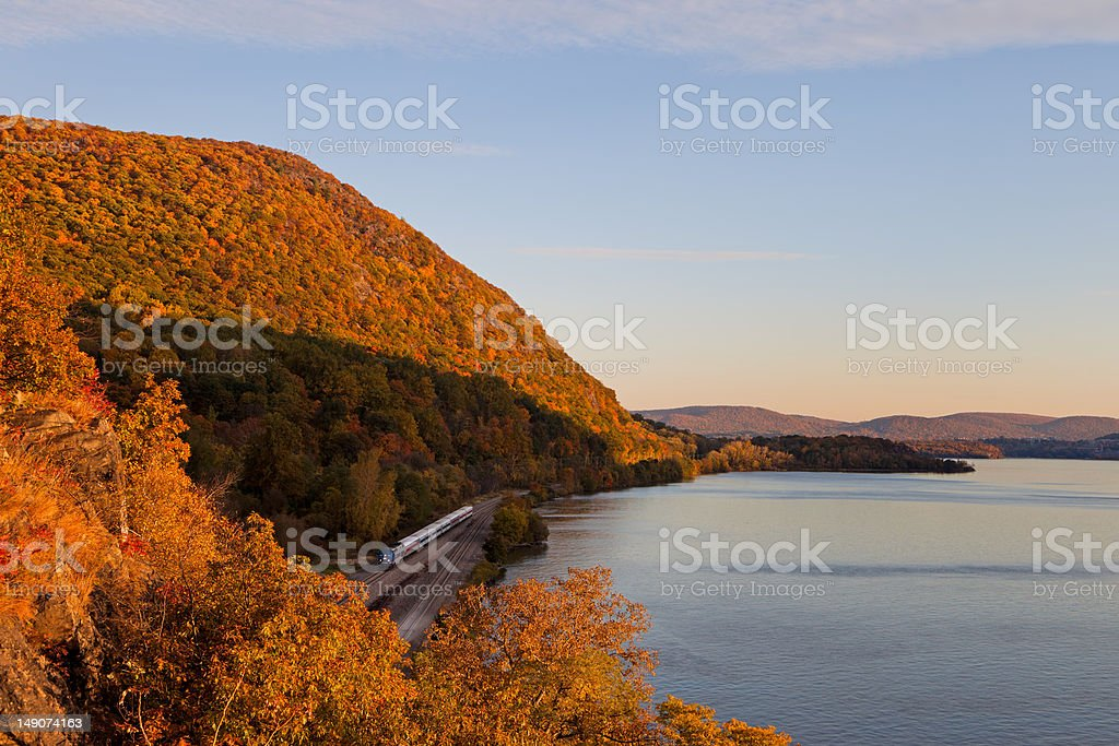 fall sunset on a NY commuter train royalty-free stock photo