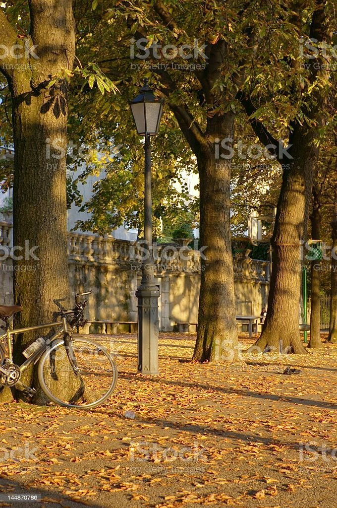 fall town evening scene royalty-free stock photo