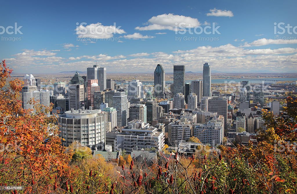 Fall trees with Montreal skyline in background stock photo