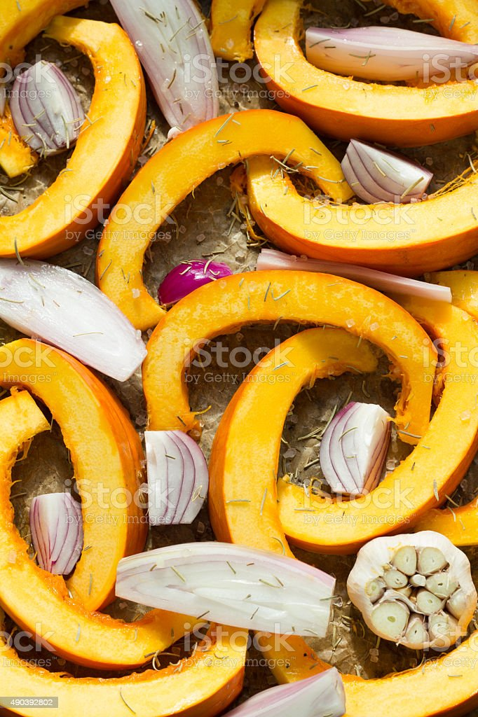 Fall vegetables ready for roast. stock photo