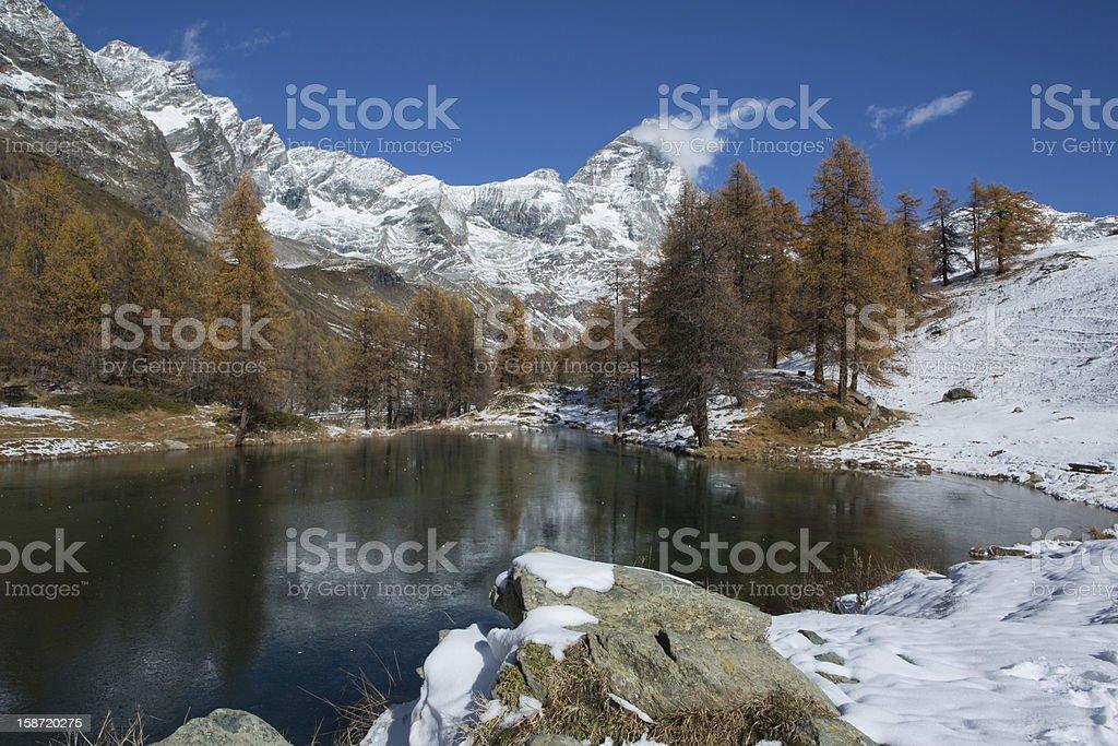 Fall view in Cervinia - Lago Blu stock photo