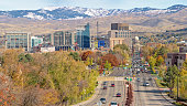 Fall view of Boise Idaho city with capital