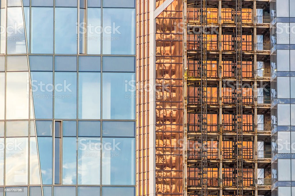 Fall with windows of modern business building stock photo