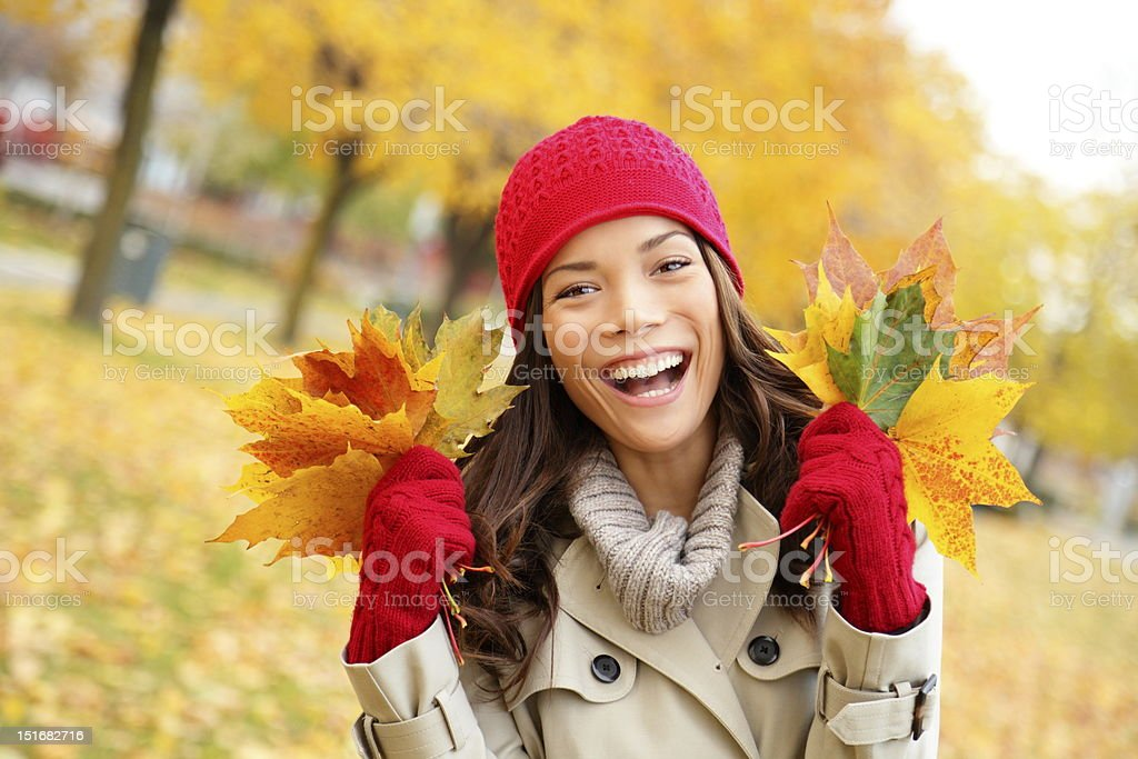 Fall woman happy and bliss royalty-free stock photo