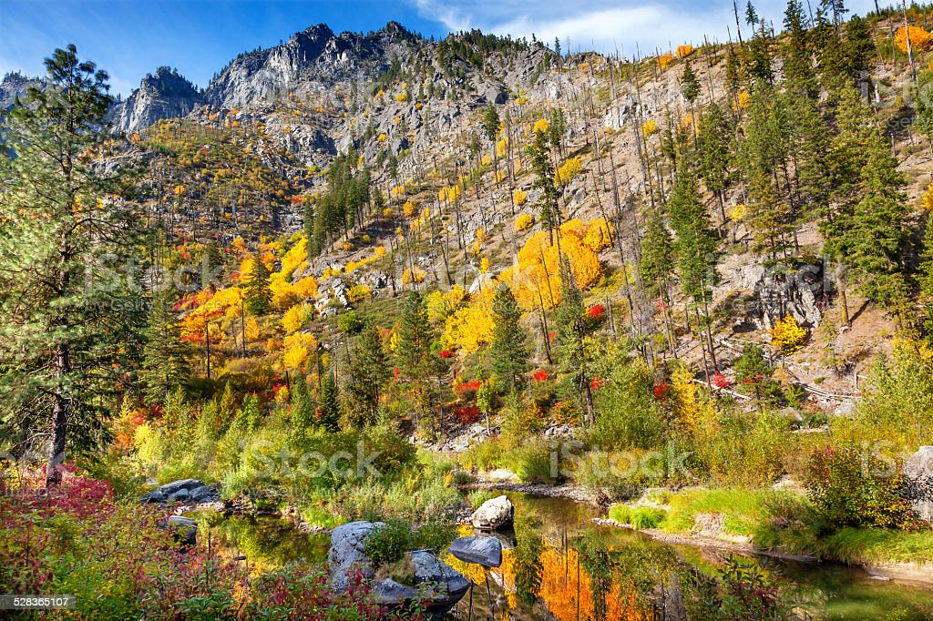 Fall Yellow Red Green Colors Reflection Wenatchee River Washington stock photo