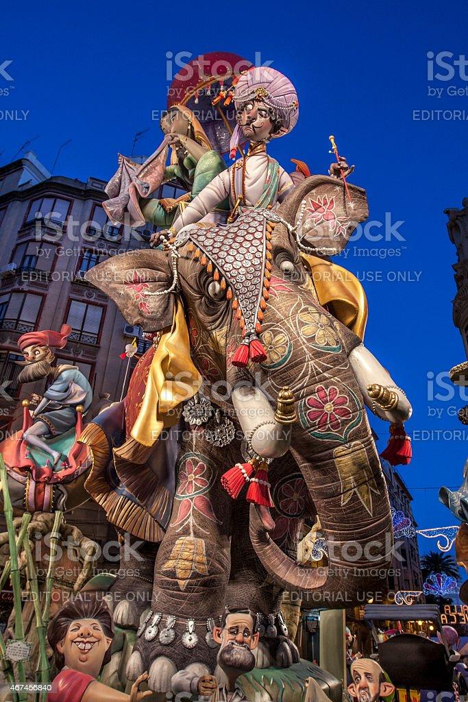 Falla of Valencia. India theme stock photo
