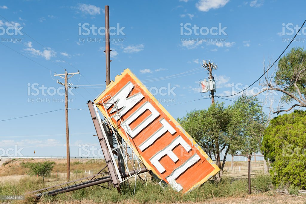 Fallen and rejected Motel sign stock photo