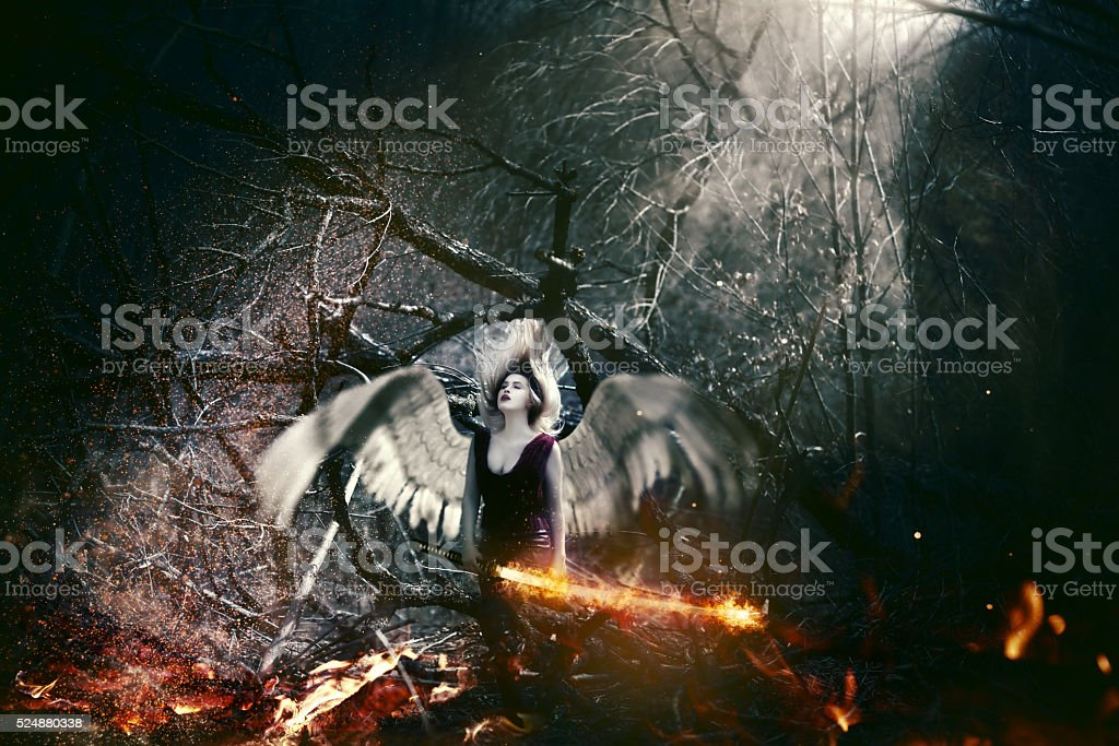 fallen angel stock photo
