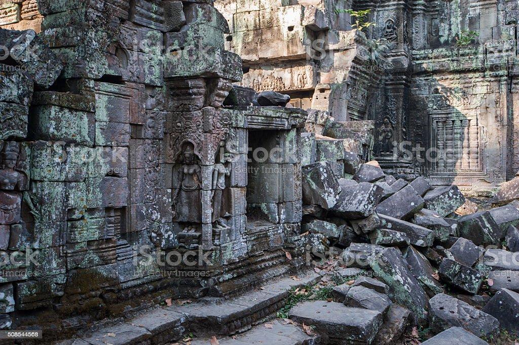 Fallen blocks of stone at Ta Prohm stock photo