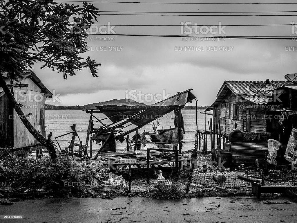 Fallen Down Building, Koh Lanta, Thailand stock photo