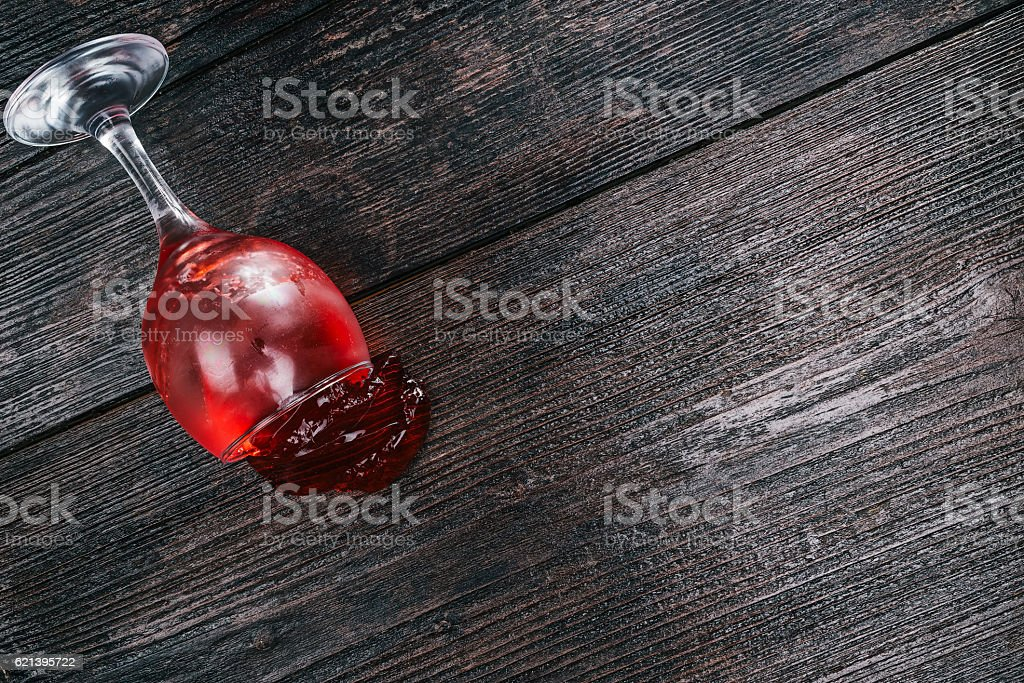 Fallen drinking glass stock photo