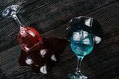 Fallen drinking glasses