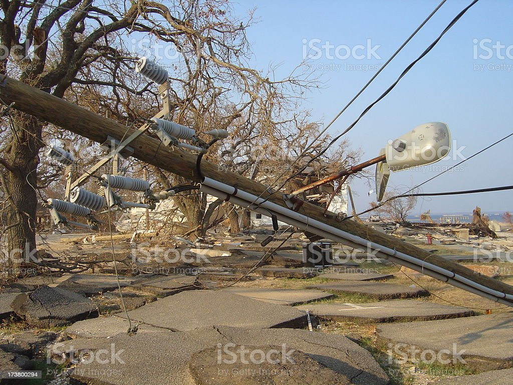 Fallen electric power poles in Waveland, Mississippi after Hurricane Katrina stock photo