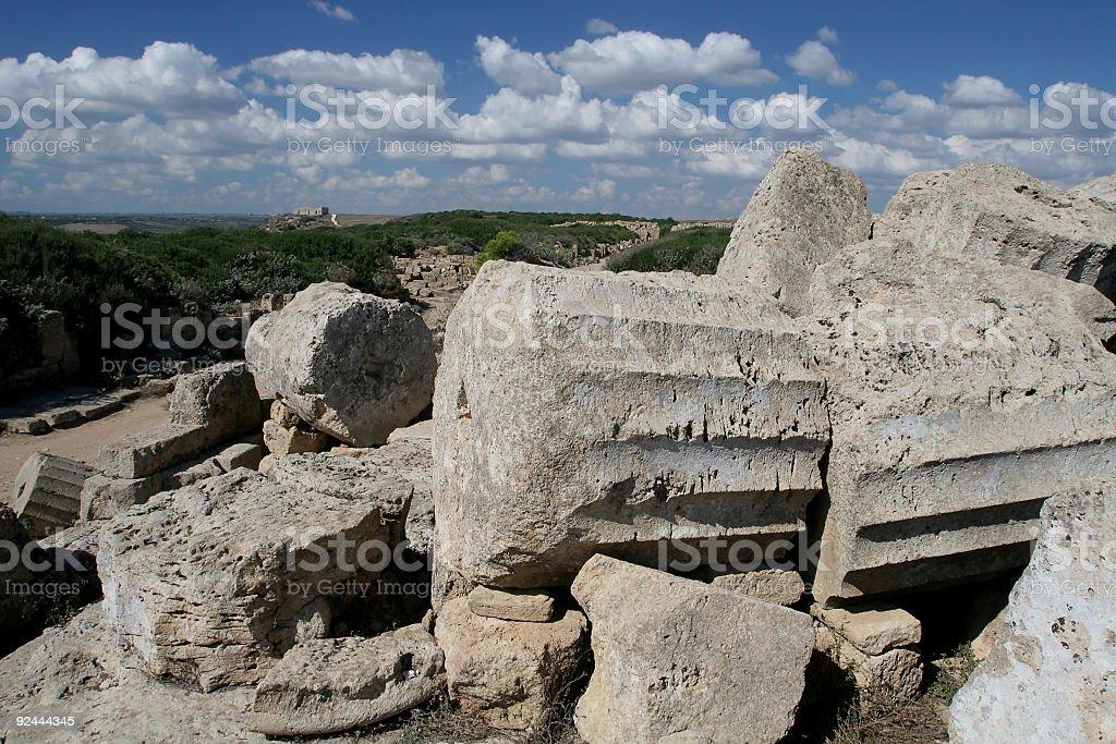 Fallen Greek Columns in Sicily royalty-free stock photo