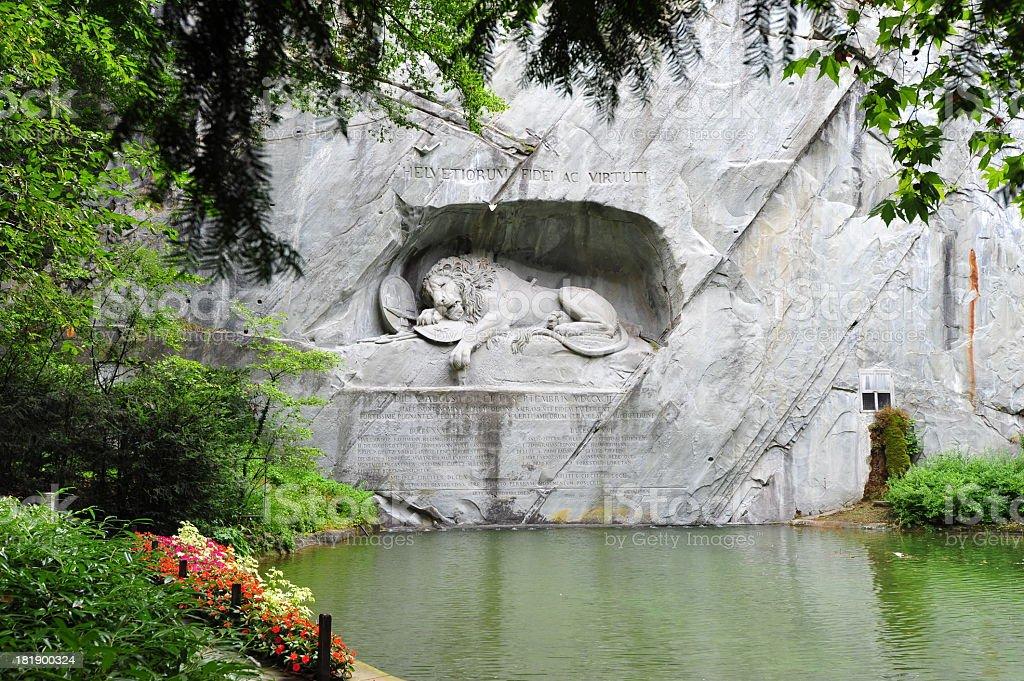 Fallen Lion monument in Lucerne, Switzerland stock photo