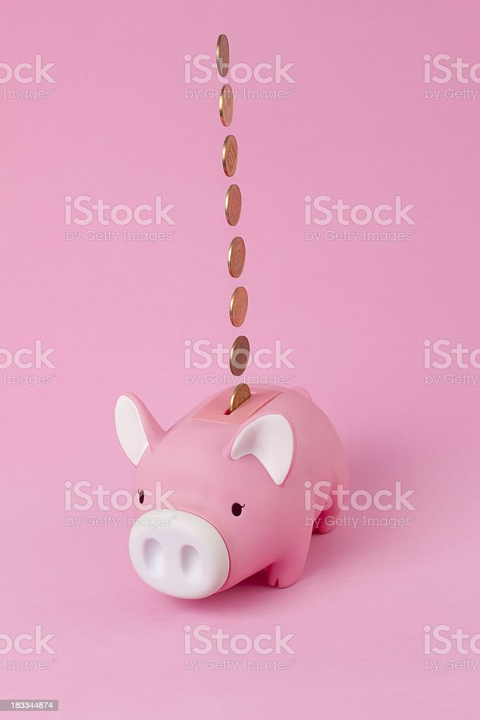 Fallen money into piggy bank. royalty-free stock photo