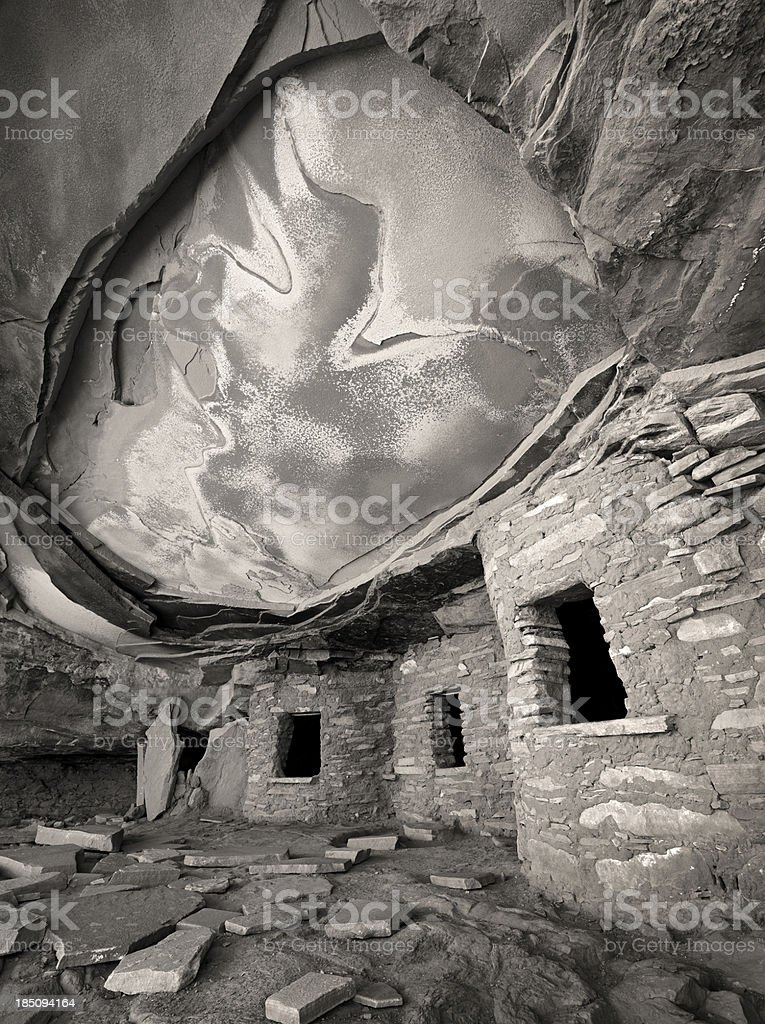 Fallen Roof Ruin in Black and White stock photo