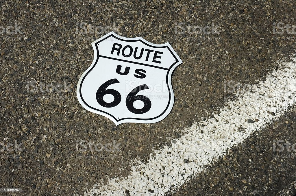 fallen Route 66 sign royalty-free stock photo