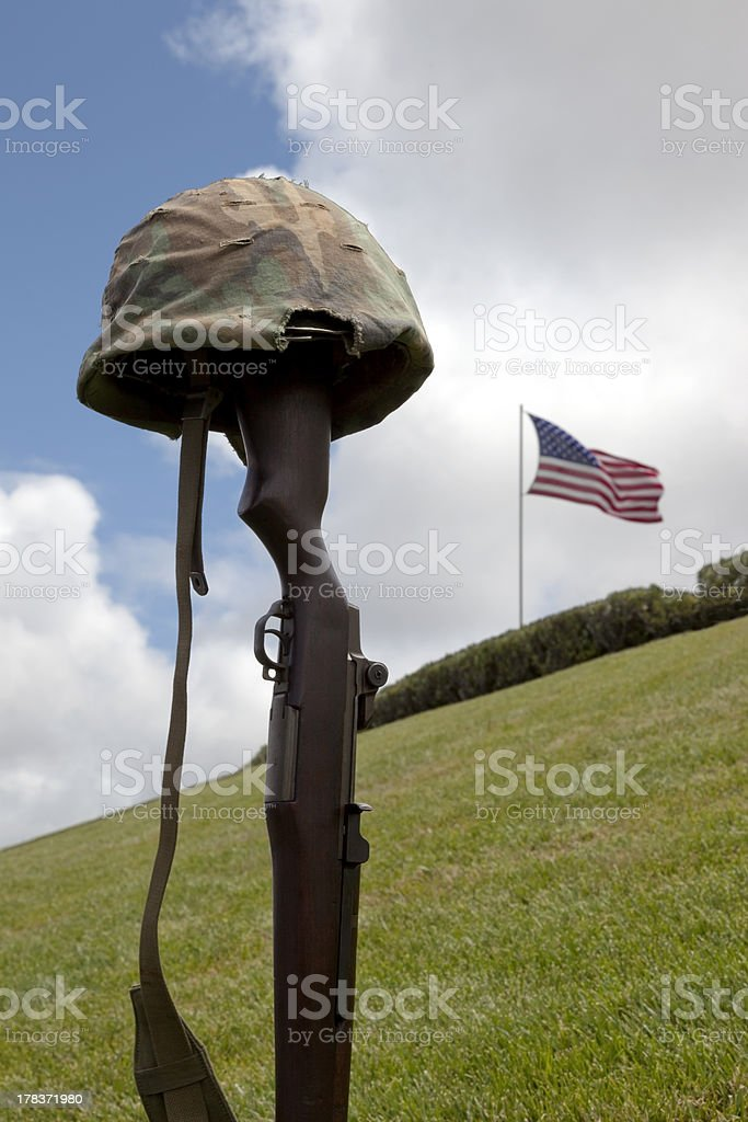 Fallen Soldier Battle Cross stock photo