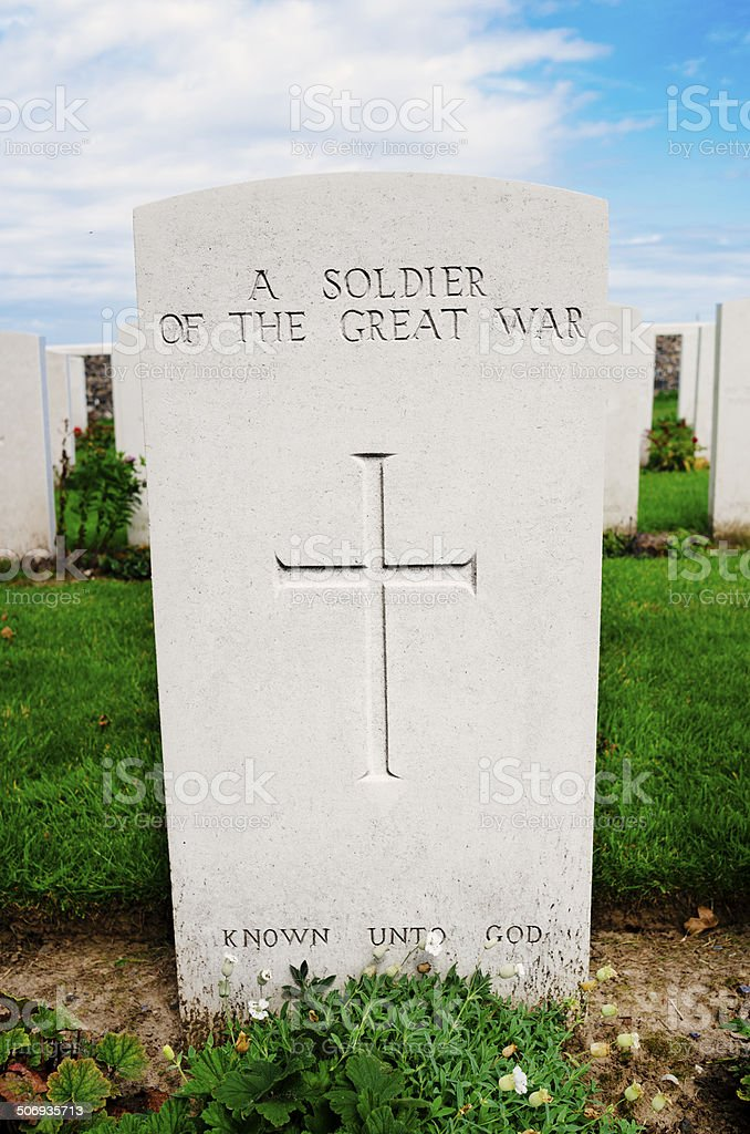 Fallen soldier gravestone at Passchendaele stock photo