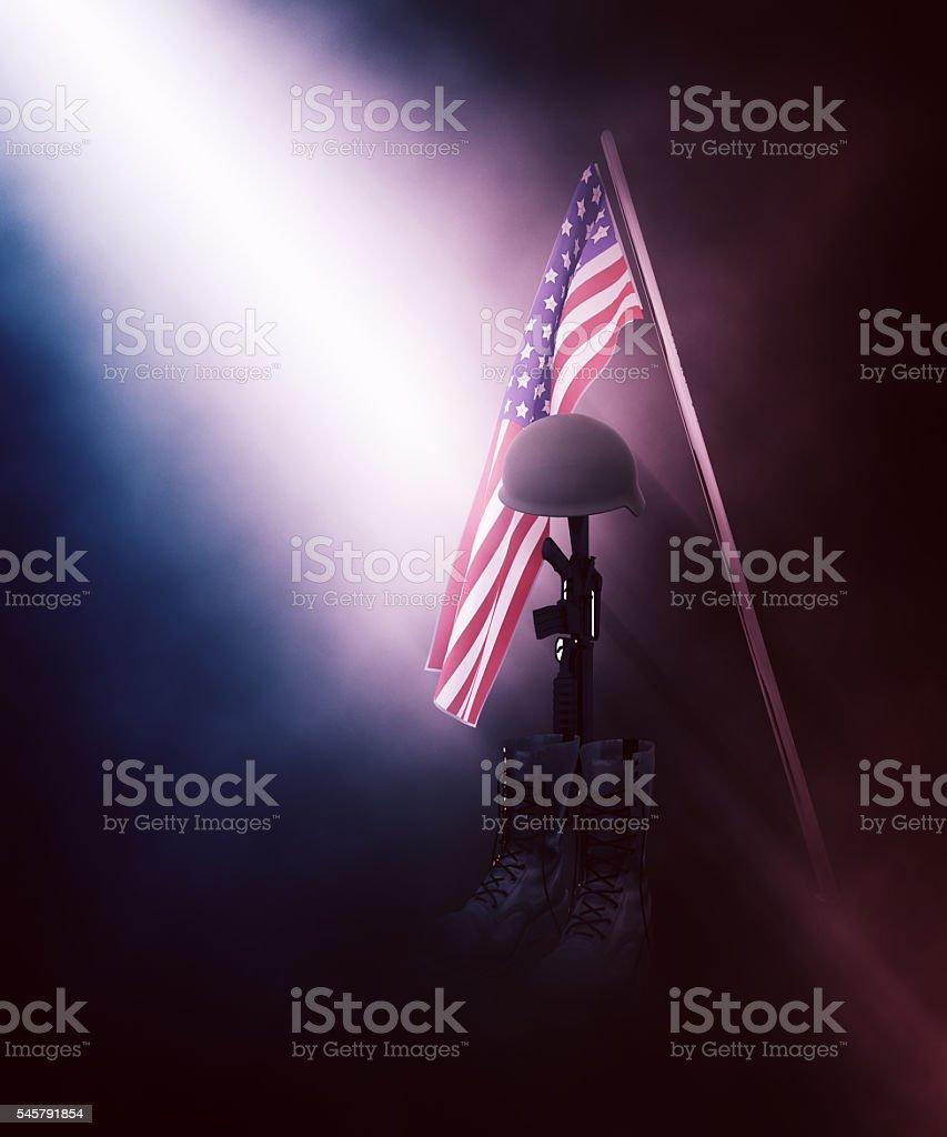 3D fallen soldier tribute stock photo