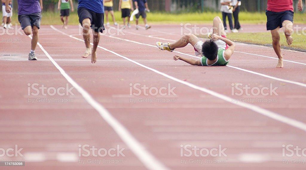 Fallen Sprinter stock photo