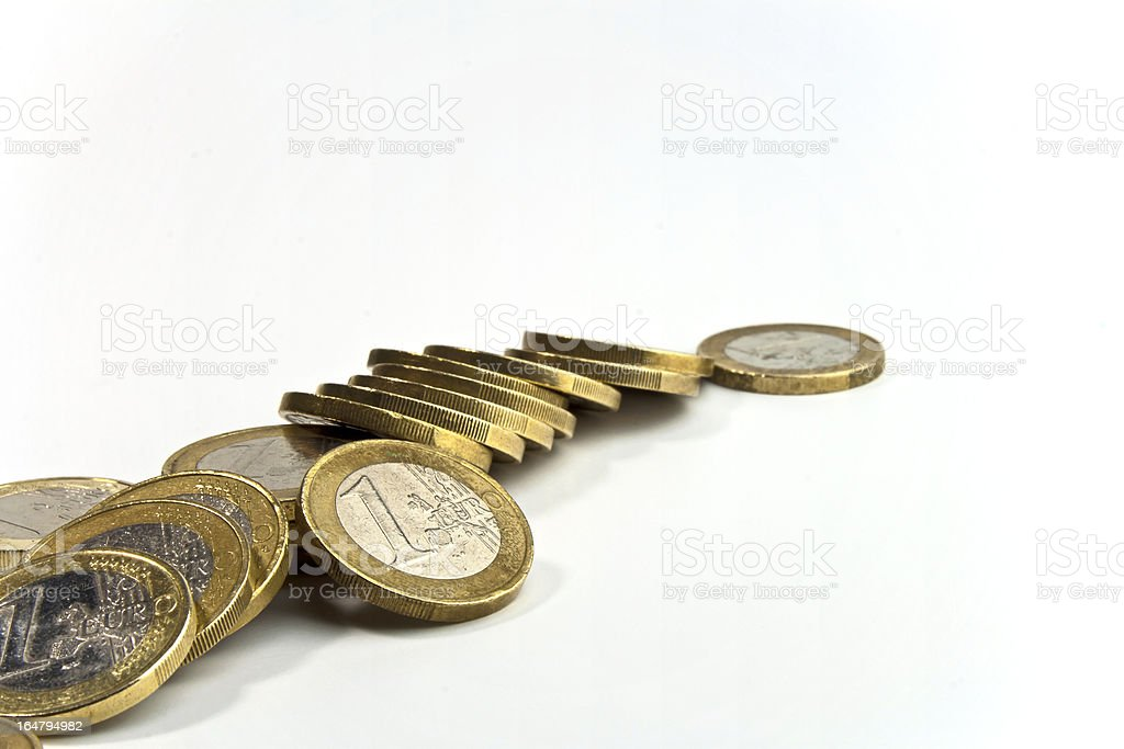 fallen stack of euro coins royalty-free stock photo